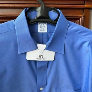 Brooks Brothers blue open collar dress shirt.